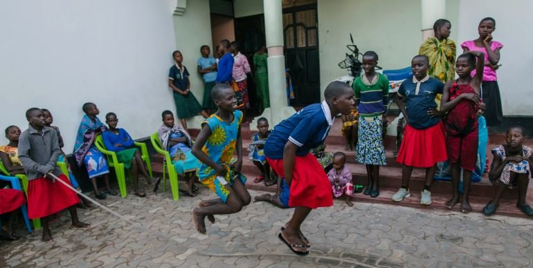 Girls skipping at safe house